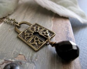 Steampunk Pendant, Skeleton Key Lock Necklace, Black Onyx Teardrop, Vintage Style Padlock Pendant - MYSTERY