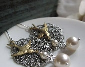Divine - Dangle Earrings, Antique Silver Filigree, Gold Brass Sparrows, Cream Pearls, Vintage