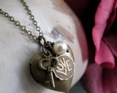 Key and Heart Locket, Antique Gold Heart Charm Locket, Vintage Inspired Locket Necklace - KEY TO LOVE
