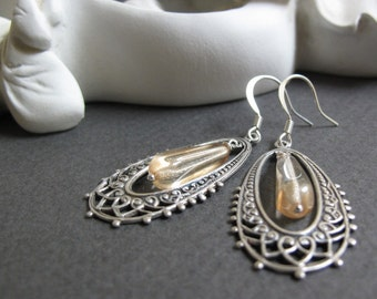 Champagne - Dangle Earrings, Antique Silver, Filigree Oval Hoops, Frosted Yellow, Vintage