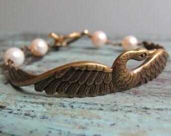 Grace - Swan Cuff Bracelet, Antique Gold Brass, Cream Swarovski Pearls