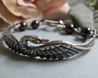 Grace - Swan Cuff Bracelet, Antique Silver, Charcoal Grey Swarovski Pearls