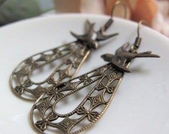 Day Break - Dangle Earrings, Antique Gold Brass, Filigree Teardrop Hoops, Sparrow Charms, Vintage