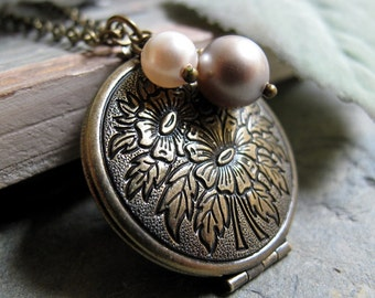 Flower Locket Necklace, Antique Gold Brass, Round Floral Locket, Pearl Charms, Vintage Style, Long Chain - CHAMOMILE