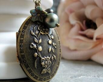 Flower Necklace Locket, Antique Gold Brass, Vintage Inspired Necklace, Olive Green Pearls Locket - OLIVIA