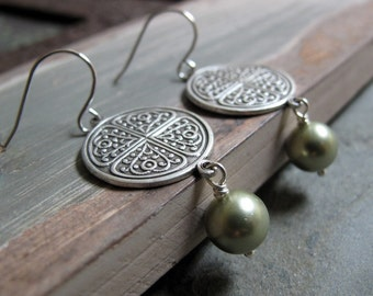 Labyrinth - Dangle Earrings, Antique Silver, Celtic, Sage Green Pearls, Vintage