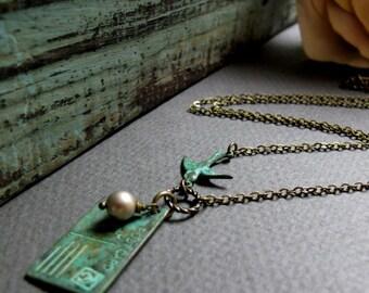 Vintage Postcard Pendant Necklace, Green Verdigris Patina, Vintage Bird Love Letter Necklace - WITH LOVE