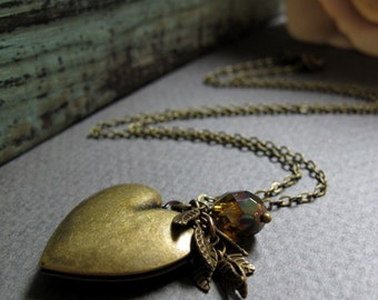 Small Heart Locket, Antique Gold Brass, Vintage Heart Necklace, Leaf and Crystal Locket Necklace- COURAGE