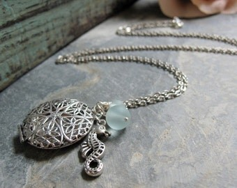 Silver Filigree Locket, Sea Horse Charm, Aqua Sea Glass, Vintage Style Beach Charm Necklace, Long 28 Inch Chain - BEACH COMBER
