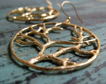 In the Woods - Hoop Earrings, Large, Gold Plated, Tree Branches, Vintage