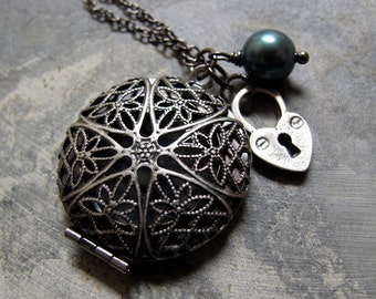 Filigree Locket, Antique Silver Necklace Locket, Heart Charm and Pearl, Long Locket Vintage Necklace - LOCKED IN LOVE