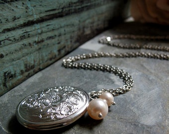 Silver Floral Locket Necklace, Medium Oval, Cream Pearls, Vintage Style, Long 28 Inch Chain - THE CLASSIC