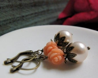 Fairytale - Dangle Earrings, Antique Gold Brass, Cream Pearl, Peach Coral Rose, Vintage