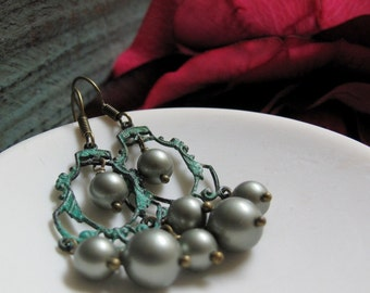 The Sage - Chandelier Dangle Earrings, Brass, Green Verdigris Patina, Sage Swarovski Pearls, Vintage