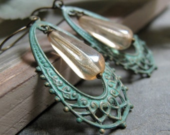 Julep - Dangle Earrings, Brass, Filigree Oval Hoops, Verdigris Patina, Yellow Frost, Vintage