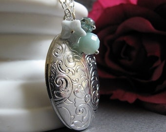 Oval Silver Locket, Long Chain Necklace, Vintage Style Locket, Aqua Charms, Filigree Locket - MINT DREAMS