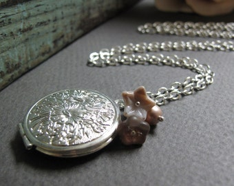 Floral Silver Locket Necklace, Vintage Style Necklace Long Locket, Pink Flower and Pearl Charms - BEAUTY