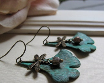 Meadows - Dangle Earrings, Brass Ginko Leaf, Dragonfly, Green Verdigris Patina, Vintage