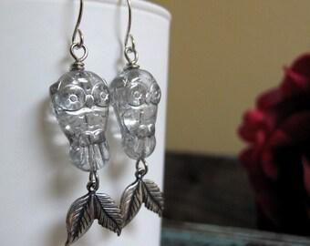 Silver Owl Earrings, Dangle Earrings Bird and Leaf, Earrings Vintage Inspired Girls Gift - LIL HOOT
