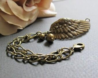 Angelic - Wing Cuff Bracelet, Antique Gold, Brass Chain, Bronze Swarovski Pearls, Vintage