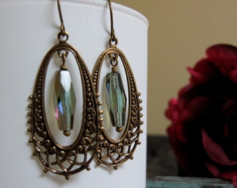 Olivia Lace - Dangle Earrings, Antique Gold Brass, Filigree Oval Hoops, Olive Green, Vintage