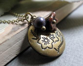 Petunia - Locket, Small Round, Antique Gold Brass, Flower Charm, Pearl, Purple, Vintage, 18 Inch Chain