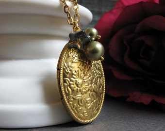 Calipso - Locket, Medium Oval, Gold Brass, Floral, Olive Green, Flower Charms, Vintage, Long 28 Inch Chain