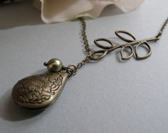 Locket Lariat Necklace, Small Teardrop, Antique Gold Brass, Tree Branch, Sage Green Pearl, 18 Inch Chain - SCION