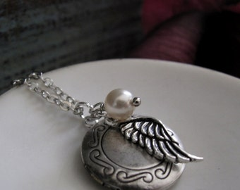 Angel Wing Locket, Small Round Silver Locket, Vintage Style Necklace, Wing Charm and Pearl, 18 Inch Chain - UNDER MY WING