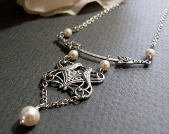 Love Bird Necklace, Pearl Bridal Necklace Love Birds, Vintage Inspired Necklace Birds, Cream Pearls - UNITY