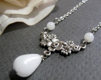 Vintage Inspired Necklace, Antique Silver Flower Necklace Pendant, White Bridal Necklace - ALABASTER