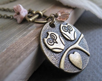 Cute Pink Owl Necklace Pendant, Girls Bird Necklace, Antique Gold Vintage Inspired Necklace - BIRDS OF A FEATHER