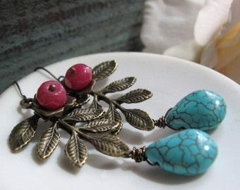 Bohemian Leaf Earrings, Turquoise and Magenta Earrings, Large Branch Earrings Brass - LOVE & PEACE