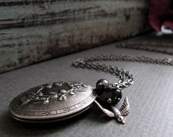 Bird and Locket Necklace, Antique Silver Locket, Black Vintage Inspired Necklace Locket - DARK SPARROW