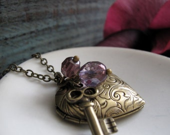 Key and Heart Locket Necklace, Long Antique Gold Heart Locket, Vintage Locket Purple Charms - KEY To My HEART
