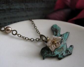 Bird Necklace Pendant, Sparrow and Flower Necklace, Antique Brass Verdigris Patina, Vintage Inspired - GARDEN SPARROW