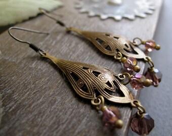 Chandelier Dangle Earrings, Nouveau Filigree Earrings, Gold Antique with Purple Crystal Earrings - MERCURY