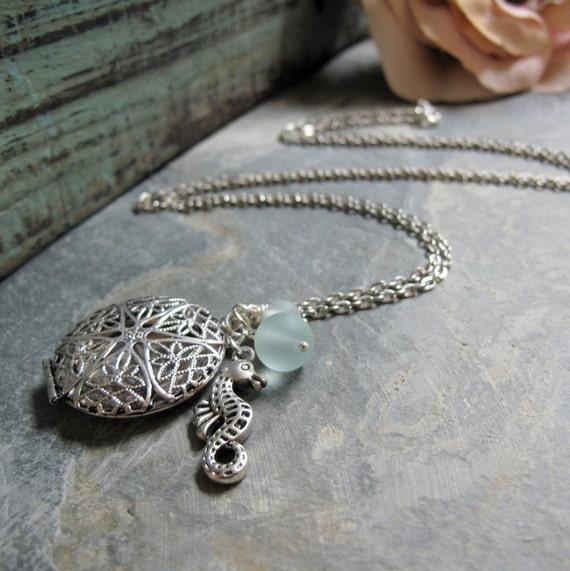 Silver Filigree Locket, Sea Horse Charm, Aqua Sea Glass, Vintage Style Beach Charm Necklace, Long 28 Inch Chain - BEACH COMBER