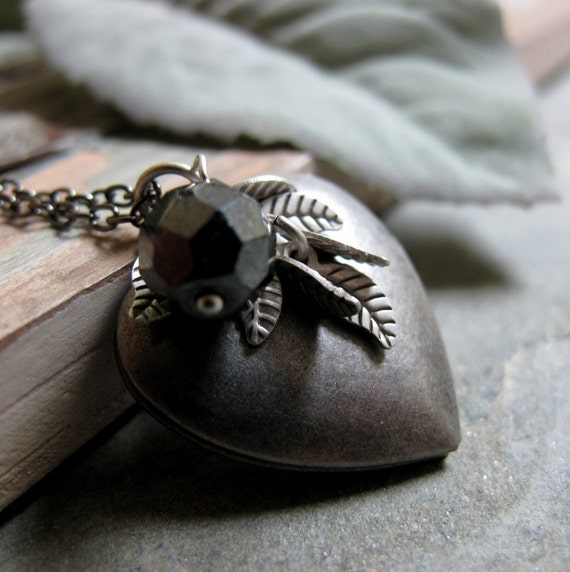 Silver Heart Locket, Antique Silver, Leaf Charms, Charcoal Grey, Vintage Inspired Necklace, 18 Inch Chain - CONVICTION