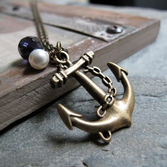 Anchor Pendant Nautical Necklace, Long Sailor Necklace, Antique Gold Brass, Navy and White - ANCHORS AWAY