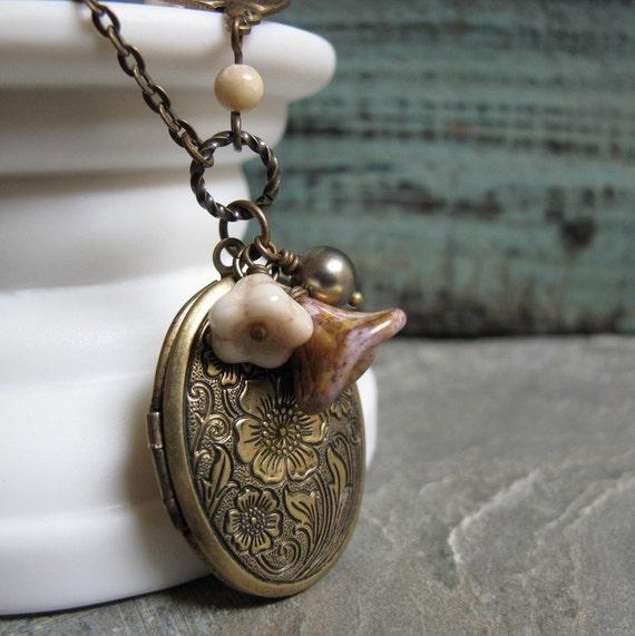 Vintage Style Locket Necklace, Floral Oval Locket, Antique Gold Brass, Sparrow, Long 28 Inch Chain - BELLADONNA