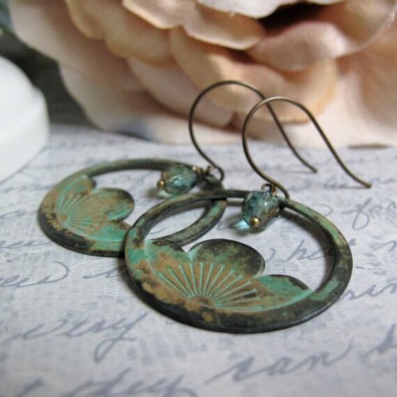 Zen - Hoop Dangle Earrings, Brass Verdigris Patina, Teal Green, Cherry Blossom, Crystal, Vintage