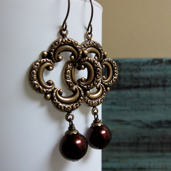 Canterbury - Dangle Earrings, Antique Gold Brass, Quatrefoil Clover, Maroon Red Pearls, Vintage