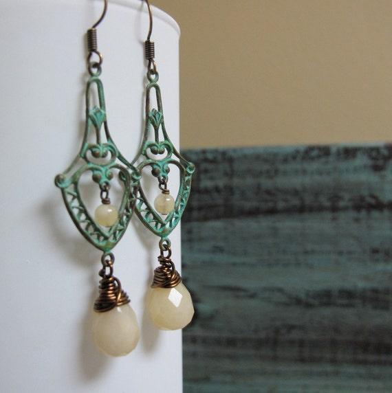 Corsica - Dangle Earrings, Brass, Green Verdigris Patina, Filigree, Yellow Opal Teardrop, Vintage