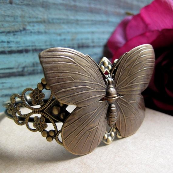 Beauty - Cuff Bracelet, Antique Gold Brass, Victorian Filigree, Brass Butterfly, Vintage
