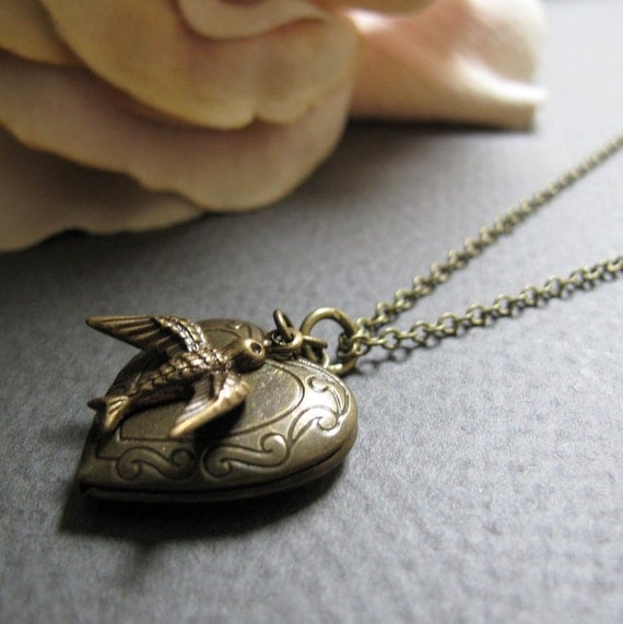 Heart Locket Necklace, Antique Gold Brass, Vintage Style Heart Necklace, Bird Charm,18 Inch Chain - LOVE