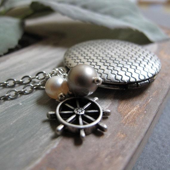 Sea Locket, Antique Silver Locket Necklace, Vintage Nautical Pearl Locket, Long Chain Necklace - STORMY SEAS