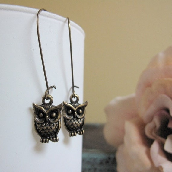 Night Owl - Dangle Earrings, Antique Gold, Owl Charms, Autumn Woodland, Vintage