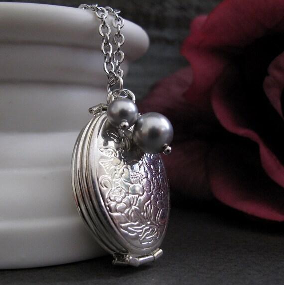 Silver Folding Locket Necklace, Gray Pearls Floral Locket, Long Necklace Locket Photos -SENTIMENTAL