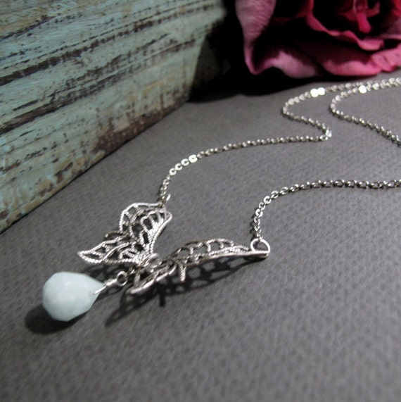 Silver Butterfly Necklace, Vintage Inspired Filigree Butterfly with Blue Teardrop, Gemstone and Silver Butterfly - VICEROY